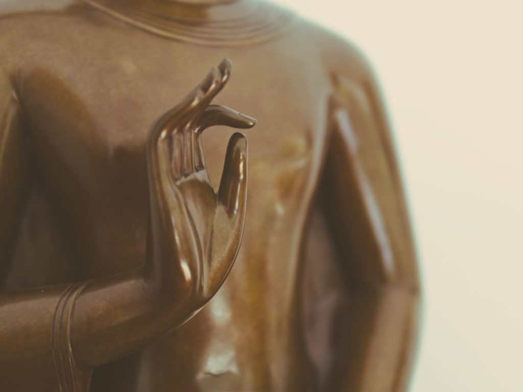 closeup of a statue of a buddha